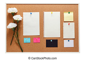 Bulletin board with note paper