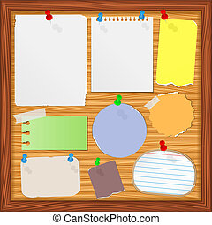 Bulletin board with old paper notes, vector eps10 ...