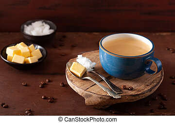 bulletproof coffee, keto paleo drink blended with butter and...