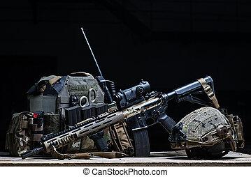 Bulletproof vest, rifle and helmet
