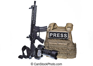 Bulletproof vest,camera and rifle.Isolated