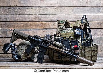 Bulletproof vest,rifle and helmet - Flak jacket with ammo...
