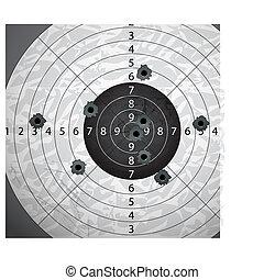 bullet`s, ペーパー, 穴, ターゲット, 銃