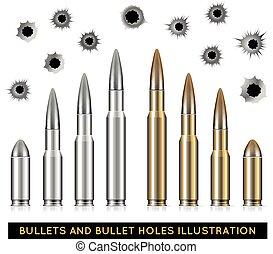 Bullets and bullet holes. Vector illustration