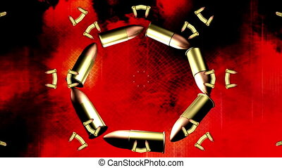 Bullets and grunge flames looping animated background -...