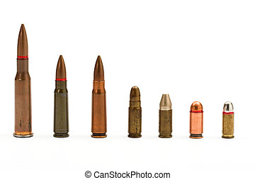 bullets close up over white
