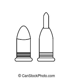 Bullets figure for military weapons, icon image