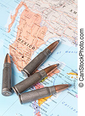 Bullets on the map of Mexico
