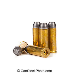 Bullets on white background - Heap of bullets on white...
