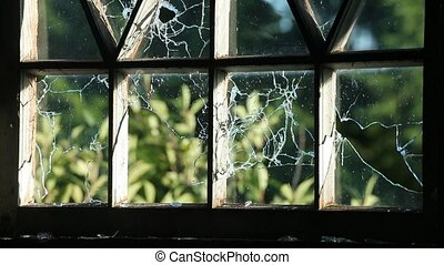 bullets pierce the pane of a wooden house inside view.