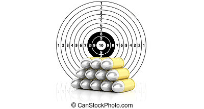 Bullets stack on paper shooting target with numbers background. 3d illustration