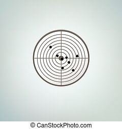 Bullets target with holes. Color vector illustration