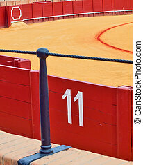 bullfight arena, plaza de toros in Seville closeup, Spain
