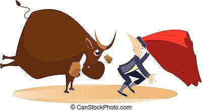 Bull pursues the bullfighter