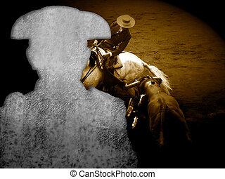 bullfight poster, silhouette of bullfighting and...