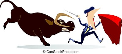 Bullfighter and angry bull isolated