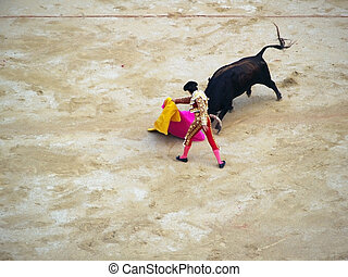 Bullfighter and black bull in action. Nimes, France