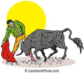Bullfighter Matador Bullfighting - Illustration of a matador...