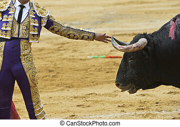 A bullfighter is touching the bull's horn with his hand bravely.