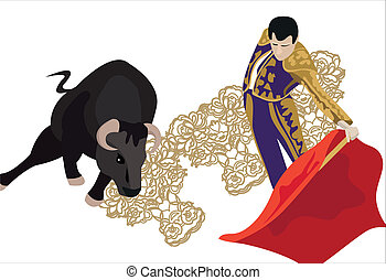 Bullfighting - Illustration of a matador fighting with a...
