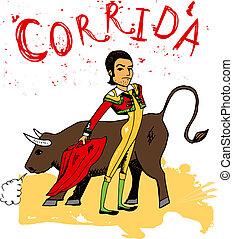Bullfighting in Corrida Spain - Hand-drawn illustration of...