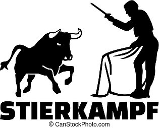 Bullfighting silhouette with german name