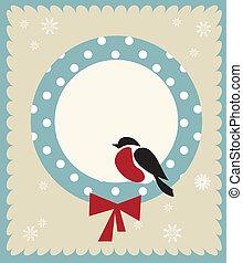 Bullfinch bird, christmas card template , vector ...
