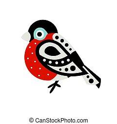 Bullfinch bird colorful cartoon character vector ...