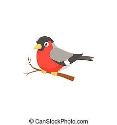 Bullfinch bird icon, cartoon style - Bullfinch bird icon in ...
