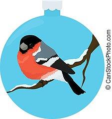 bullfinch bird illiustration in blue christmas-tree ball - ...