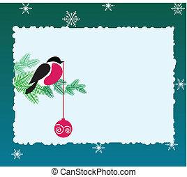 Bullfinch bird on winter background - Bullfinch on winter ...