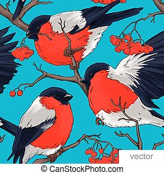 Bullfinch bird vector winter illustration seamless pattern...