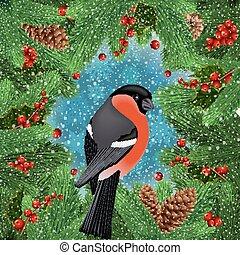 Bullfinch bird with fir tree decoration - Illustration of ...
