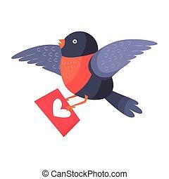 Bullfinch Bird with Red Chest Hold Love Envelope - Bullfinch...