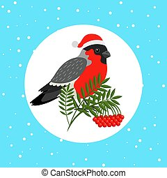 Bullfinch bird with Santa hat - Bullfinch bird with ...