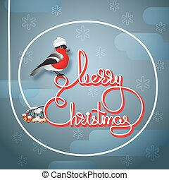Bullfinch in a hat, rowan and handwritten words Merry Christmas