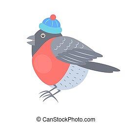 Bullfinch in Knitted Hat Vector Illustration - Bullfinch in...
