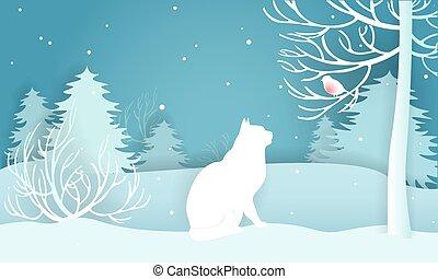 bullfinch., neige-couvert, hiver, forest., chat, regarder, vecteur, blanc