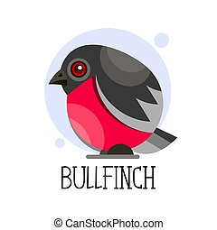 Bullfinch on a branch. Colored vector illustration.