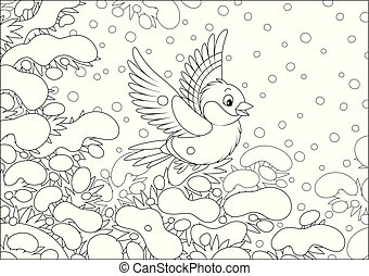 Funny forest bird flying over snow-covered branches of a fir-tree in a winter forest on a cold beautiful day, black and white vector cartoon illustration for a coloring book