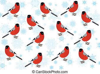 Bullfinch-winter birds on the background of the Snowflakes