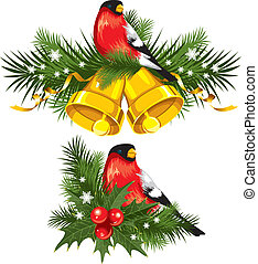 Bullfinch with Christmas bells - Bullfinch with Christmas...