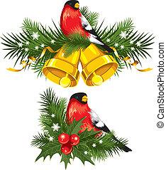 Bullfinch with Christmas bells. Vector design element.