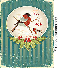 bullfinches in winter. Vintage christmas card for text