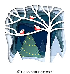 Bullfinches on a branch. Winter landscape with Christmas fir. Design in paper art style.