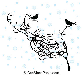 Two birdies sit on a branch in the winter. A vector illustration