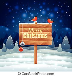 Bullfinches on wooden sign Christmas background