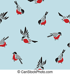 Seamless pattern with the bullfinches and blue background