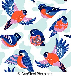 Winter pattern with stylized bullfinches. Vector seamless texture.
