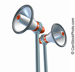 Bullhorn and megaphone symbol representing the important concept of announcements and business advertising and promotion of communications.